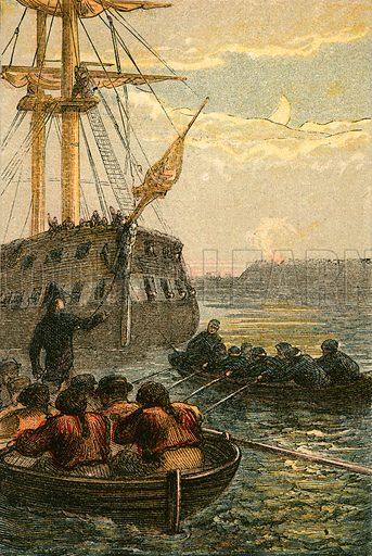 The capture of the Hermione. Illustration for Naval Enterprise (Frederick Warne, c 1880).