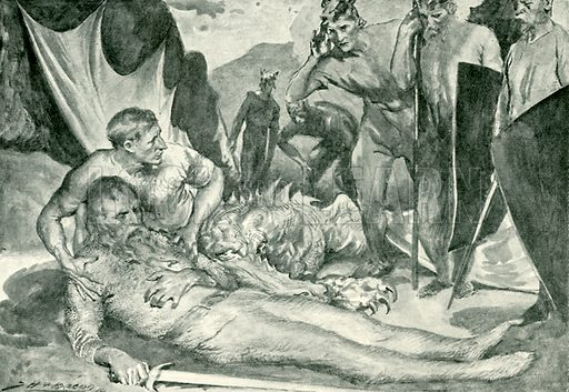 The death of Beowulf. Illustration for Hero-Myths and Legends of the British Race by M I Ebbutt (Harrap, 1916).