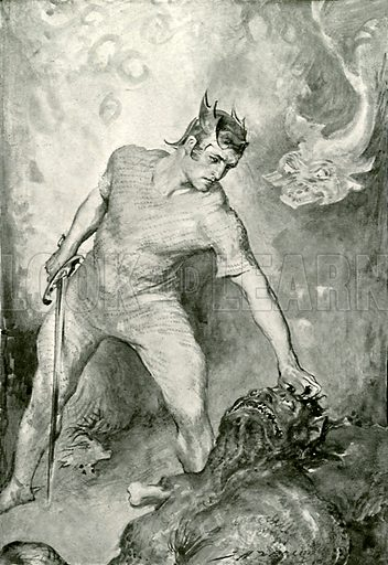 Beowulf shears off the head of Grendel