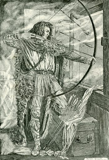 """""""William continued his wonderful archery."""" Illustration for Hero-Myths and Legends of the British Race by MI Ebbutt (Harrap, 1916)."""