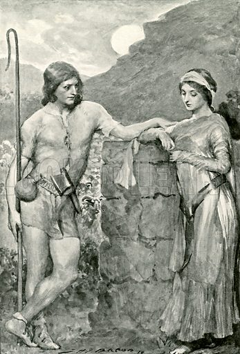 Olaf and Sigrid. Illustration for Hero-Myths and Legends of the British Race by M I Ebbutt (Harrap, 1916).