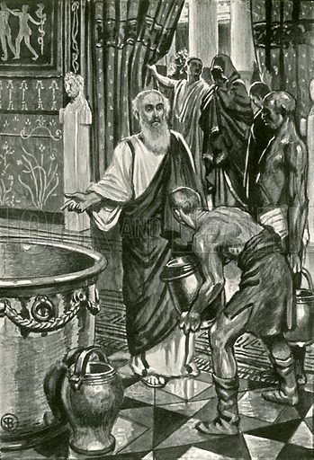 They filled the great vessel of silver with pure water. Illustration for Hero-Myths and Legends of the British Race by M I Ebbutt (Harrap, 1916).