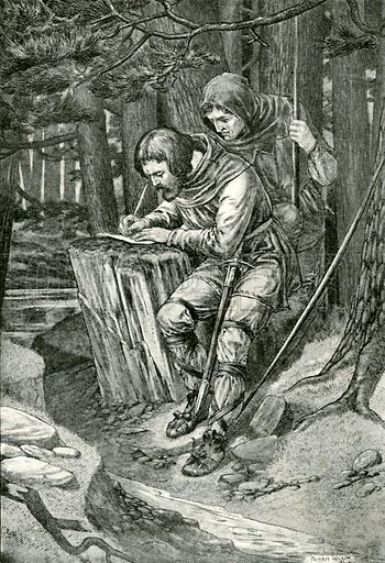 Adam Bell writes the letter. Illustration for Hero-Myths and Legends of the British Race by MI Ebbutt (Harrap, 1916).