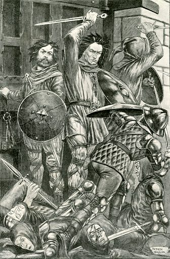 The fight at the gate. Illustration for Hero-Myths and Legends of the British Race by MI Ebbutt (Harrap, 1916).