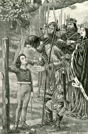 William of Cloudeslee and his son. Illustration for Hero-Myths and Legends of the British Race by M I Ebbutt (Harrap, 1916).