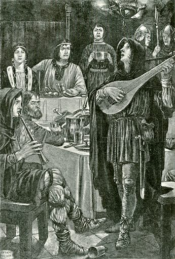 Horn and his followers disguised as minstrels. Illustration for Hero-Myths and Legends of the British Race by MI Ebbutt (Harrap, 1916).