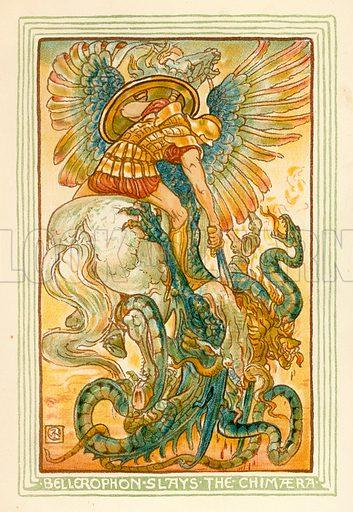Bellerophon slays the Chimaera. Illustration for A Wonder Book for Girls and Boys (Osgood, 1893).