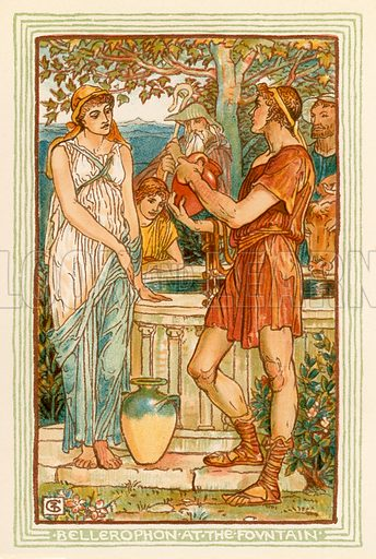Bellerophon at the fountain. Illustration for A Wonder Book for Girls and Boys (Osgood, 1893).
