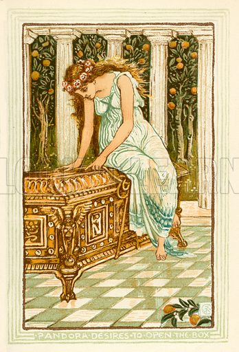 Pandora desires to open the box. Illustration for A Wonder Book for Girls and Boys (Osgood, 1893).