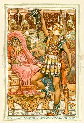 Perseus showing the Gorgon's head. Illustration for A Wonder Book for Girls and Boys (Osgood, 1893).