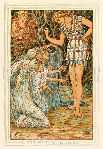 Perseus and the Graiae. Illustration for A Wonder Book for Girls and Boys (Osgood, 1893).