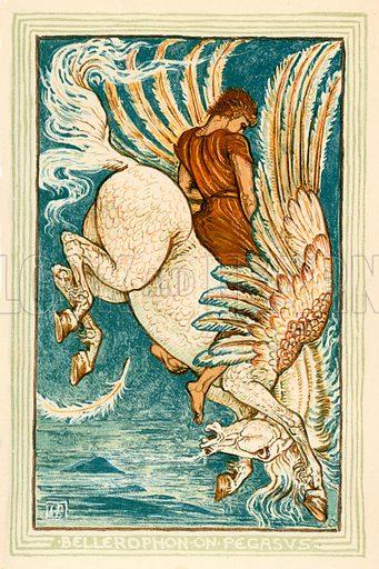 Bellerophon on Pegasus. Illustration for A Wonder Book for Girls and Boys (Osgood, 1893).