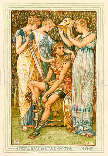 Perseus armed by the Nymphs. Illustration for A Wonder Book for Girls and Boys (Osgood, 1893).