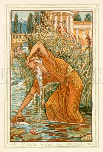 Midas with the pitcher. Illustration for A Wonder Book for Girls and Boys (Osgood, 1893).