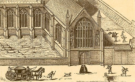 Merton College Chapel. Fives-play in the garden. Illustration from With the King at Oxford by Alfred Church (Seeley, 1886).