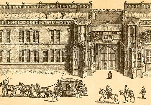 The Gateway of Christ Church, Oxford. Illustration from With the King at Oxford by Alfred Church (Seeley, 1886).