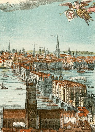 London Bridge. Illustration from With the King at Oxford by Alfred Church (Seeley, 1886).