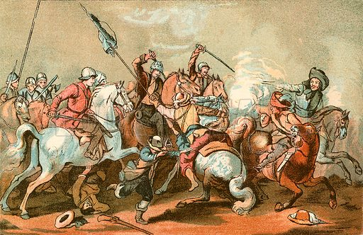 A cavalry skirmish. Illustration from With the King at Oxford by Alfred Church (Seeley, 1886).