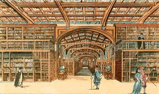 The Bodleian Library, Oxford. Illustration from With the King at Oxford by Alfred Church (Seeley, 1886).