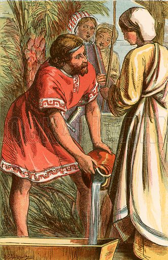 Moses and Jethro's daughter. Illustration from The Boys of Holy Writ (Frederick Warne, c 1880).