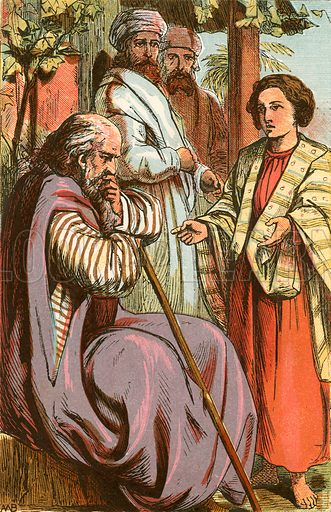 Joseph relating his dream to his father. Illustration from The Boys of Holy Writ (Frederick Warne, c 1880).