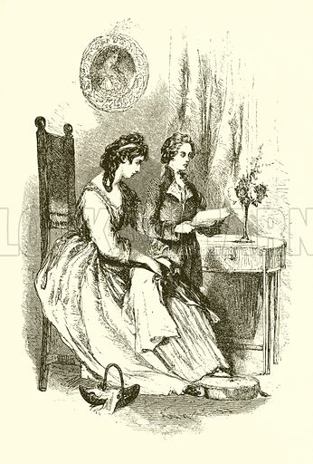 Burke reading to his mother. Illustration from Footprints of Famous Men by John Edgar (Kent, 1858).