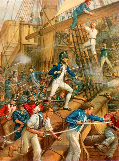 Nelson boarding the San Nicolas