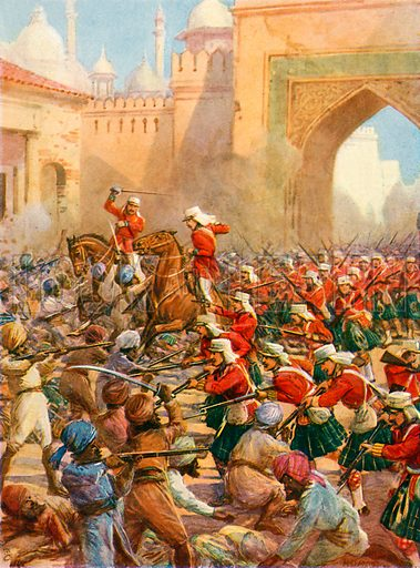 Sir Henry Havelock at the Relief of Lucknow. Illustration from Heroic Deeds of Great Men (Raphael Tuck, c 1900).
