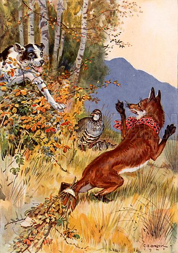 """""""Out of the bushes sprang the dog."""" Illustration from Children's Stories from Rumanian Legends by M Gaster (Raphael Tuck, c 1910)."""