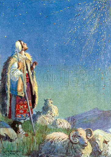 """""""It came down as a shower of sparks."""" Illustration from Children's Stories from Rumanian Legends by M Gaster (Raphael Tuck, c 1910)."""