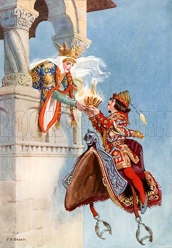 """""""She saw that crown and begged of him to give it her."""" Illustration from Children's Stories from Rumanian Legends by M Gaster (Raphael Tuck, c 1910)."""