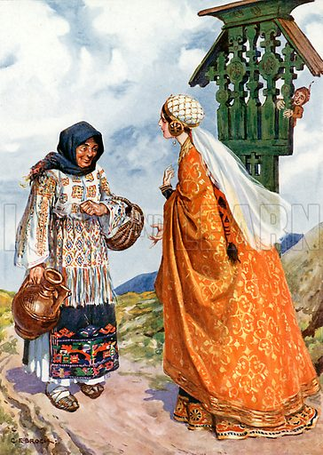 """""""The princess asked her to exchange the peasant's clothes for her royal garment."""" Illustration from Children's Stories from Rumanian Legends by M Gaster (Raphael Tuck, c 1910)."""