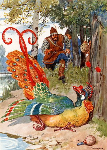 """When he tried to fly he found his wings too heavy."" Illustration from Children's Stories from Rumanian Legends by M Gaster (Raphael Tuck, c 1910)."