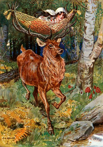"""""""That wonderful stag with the hammock."""" Illustration from Children's Stories from Rumanian Legends by M Gaster (Raphael Tuck, c 1910)."""