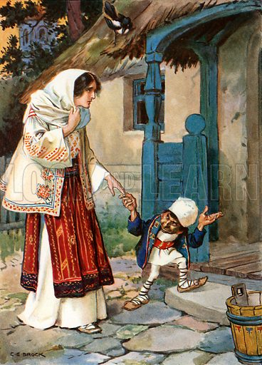 """""""Little Brother Bit took his lovely bride to the house which he had built for her."""" Illustration from Children's Stories from Rumanian Legends by M Gaster (Raphael Tuck, c 1910)."""