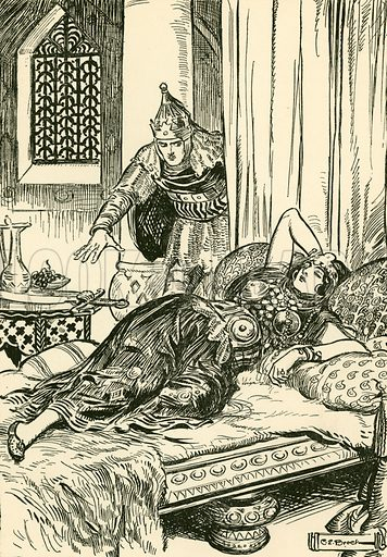 """""""He succeeded in getting hold of the scimitar."""" Illustration from Children's Stories from Rumanian Legends by M Gaster (Raphael Tuck, c 1910)."""