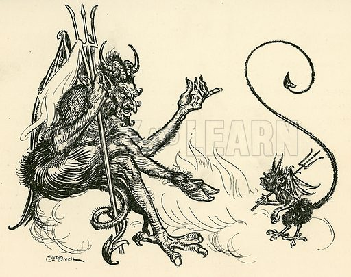 Devils. Illustration from Children's Stories from Rumanian Legends by M Gaster (Raphael Tuck, c 1910).