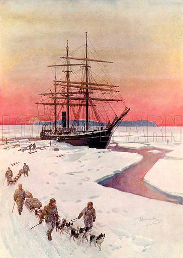 "Unloading the ""Terra Nova"" in McMurdo Sound.  Illustration from Brave Deeds by Brave Men (Raphael Tuck, c 1900)."