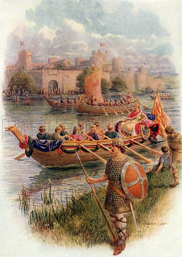 King Edgar on the River Dee. Illustration from Children's Stories from English History (Raphael Tuck, c 1910).