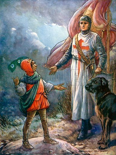 Sir Kenneth and the dwarf. Illustration from Children's Stories from Scott by Doris Ashley (Raphael Tuck, c 1900).