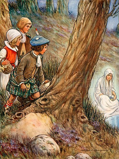 """""""The white lady sitting and weeping."""" Illustration from Children's Stories from Scott by Doris Ashley (Raphael Tuck, c 1900)."""