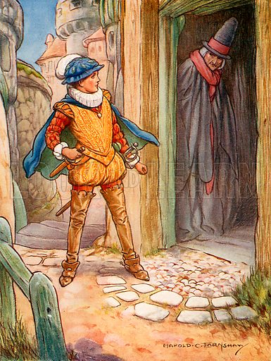Roland meets his grandmother. Illustration from Children's Stories from Scott by Doris Ashley (Raphael Tuck, c 1900).