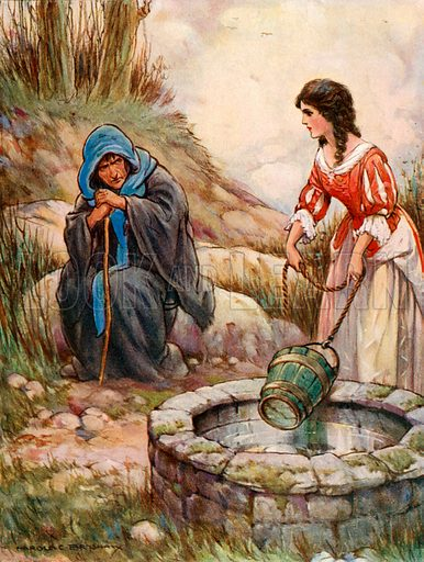 Alice Lee at the well. Illustration from Children's Stories from Scott by Doris Ashley (Raphael Tuck, c 1900).