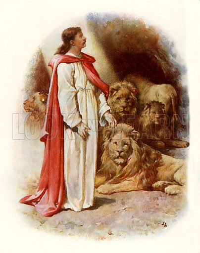 Daniel in the lion's den. Illustration from Stories from the Bible (Raphael Tuck, c 1900).