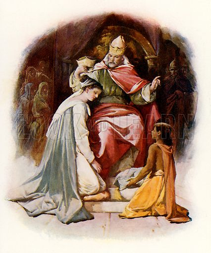 Esther crowned by King Ahasuerus. Illustration from Stories from the Bible (Raphael Tuck, c 1900).