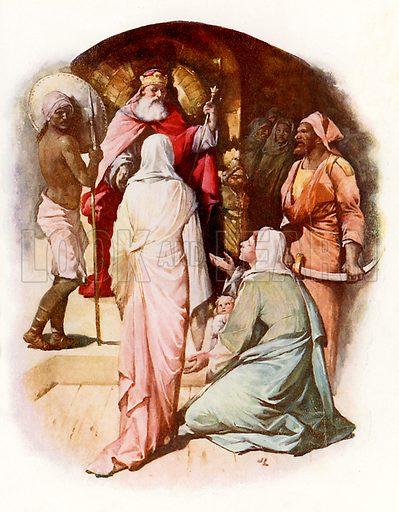 The judgment of Solomon. Illustration from Stories from the Bible (Raphael Tuck, c 1900).