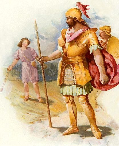 David and Goliath. Illustration from Stories from the Bible (Raphael Tuck, c 1900).
