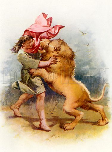 Samson slays the lion. Illustration from Stories from the Bible (Raphael Tuck, c 1900).