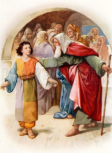Joseph tells his dream. Illustration from Stories from the Bible (Raphael Tuck, c 1900).