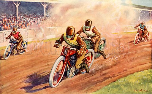 The last lap. Illustration from Young England Annual (Pilgrim Press, 1929).